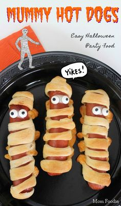Mummy Hot Dogs Recipe... these are so easy and kids love 'em!