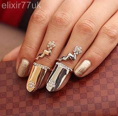 Uk Hot Gold / Silver Flower Diamante Nail Art Claw Finger Tip Ring Emo Free Gift