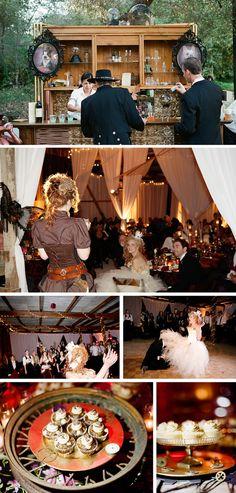 Victorian Steampunk Wedding - by Braedon Flynn Photography   Ruffled Blog ... #AliceInWonderlandWedding; #AttireAndAccessories; #BouquetToss; #CakeStands; #CinderellaWedding; #CocktailBar; #Cupcakes; #DisneyWedding; #GarterToss; #Reception; #SteampunkWedding; #TableSetting; #VictorianWedding; #VintageWedding; #WeddingDecor; #WeddingPhotos; #WeddingToasts