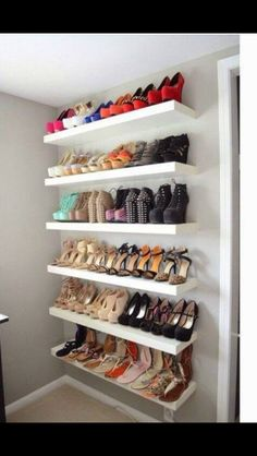All my shoes would fit on one shelf, but I still love this idea