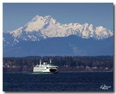 """Washington State Ferry on Edmonds / Kingston run. Olympic Mountains / """"The Brothers"""" in background. Seattle Washington, Washington State, Olympic Mountains, Sky Full Of Stars, Mountain Photos, Olympic Peninsula, Far Away, Pacific Northwest, Olympics"""