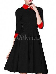 fa98b47e8d Black Vintage Dress Women s 3 4 Sleeve Pleated Peter Pan Collar Flare Retro  Dress