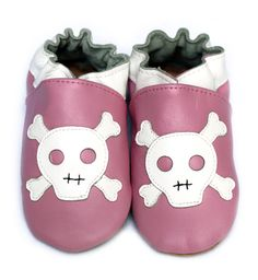 Skull Pink baby shoes leather