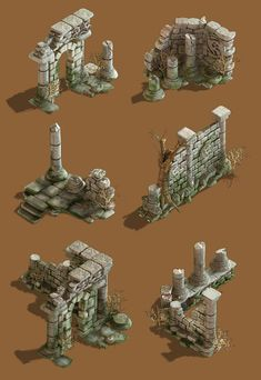 This is graphic bits of ancient ruins from the first location of Totem Tribe These ruins is where the story starts. Game Environment, Environment Concept Art, Environment Design, Fantasy Landscape, Fantasy Art, Fantasy World, Ancient Ruins, Minecraft Medieval, Medieval Castle