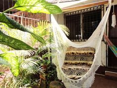 Beige Sitting Hammock with Fringe, Hanging Chair Natural Cotton and Wood