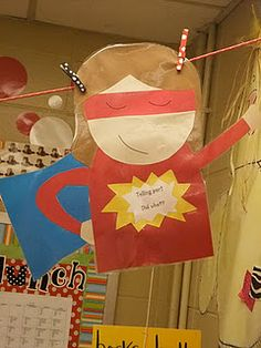 First Grade Blue Skies - Now soaring in Kindergarten Superhero School, Superhero Classroom Theme, Classroom Themes, Superhero Academy, Superhero Ideas, Superhero Party, Classroom Activities, Super Hero Day, School Themes