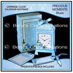 Another of these beautiful kits which contains everything you need to make a carriage clock shaped box which can be used either as a keepsake/gift by adding the Craft Projects, Projects To Try, Carriage Clocks, Blue Design, Fun Crafts, Blues, Presentation, Calendar, In This Moment