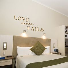 24x58 (X Large) - Love Never Fails - Romantic wall decal love quotes vinyl wall art wall quotes via Etsy