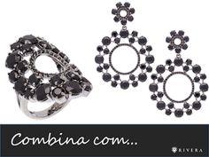"""""""COMBINA COM..."""" Brincos e anel folheados a ouro com banho de ródio negro e cristais pretos."""
