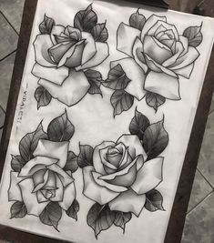 Floral Tattoo Design, Tattoo Designs, Tattoo Drawings, Tattoos, Floral Vintage, Neo Traditional, Roses, Flowers, Vintage Floral Tattoos