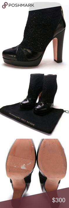 "Alessandro Dell'Acqua Black Ankle Boots NWOB New without box. Comes with dustbag. Only minor scuffs on bottom soles from being tried on. Back zip. These are a size 37. I am told this brand runs slightly smaller however they are not my size so check your sizing before purchasing because returns are not accepted just because an item doesn't fit. For this reason I am listing them as a size US 6.5. Heel height is approx. 4.5"". Alessandro Dell'Acqua Shoes Ankle Boots & Booties"