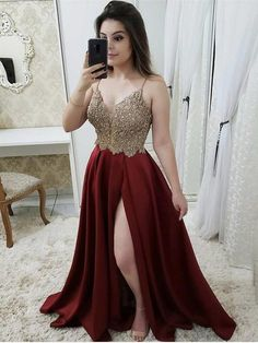 Prom Dress Beautiful, A-Line/Princess Sleeveless Straps Sweep Train Beading Satin Dresses Discover your dream prom dress. Our collection features affordable prom dresses, chiffon prom gowns, sexy formal gowns and more. Find your 2020 prom dress Split Prom Dresses, Straps Prom Dresses, Beaded Prom Dress, A Line Prom Dresses, Grad Dresses, Cheap Prom Dresses, Satin Dresses, Evening Dresses, Formal Dresses