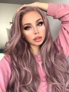 New eNilecor Ash Pink Lace Front Wigs, Long Wave Dusty Rose Gold Synthetic Natural Color Side Part Wig Women (Ash Pink) online shopping - Theperfectgreat Wig Styles, Short Hair Styles, Natural Hair Styles, Pink Wig, Pink Ash Hair, Long Pink Hair, Brown Hair, Lace Hair, Silky Hair