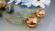 Crystal Earrings/Earrings with crystal/ Orecchini con cristalli/ Orecchini stile minimalista con cristalli/ Orecchini dorati/Orecchini verdi di Athiss su Etsy