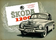 1952 Skoda 1200. #SKODA - Skoda - Škoda Auto Retro Ads, Vintage Ads, Vintage Posters, Classic Motors, Classic Cars, Mini Trucks, Car Posters, Old Signs, Car Drawings