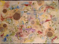 Newest piece from my Map Series. Watercolor, ink, hand made paper, vintage pattern paper and hand sewing. 32x24