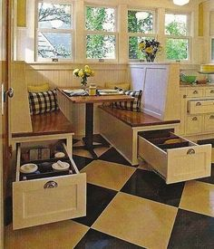 20 Clever Home Storage Ideas - Drawers opening to ends for corner bench in dining area