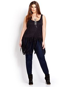 MXM Faux Suede Sleeveless Fringe Top