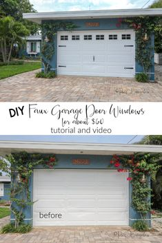 how to add DIY faux garage door windows to your own plain garage door for about $60 with minimal tools and skills. Tutorial and video with links to supplies I used #curbappeal #garagedoor #outdoordecor Garage Door Update, Garage Door Decor, Garage Door Makeover, Garage Door Design, Diy Door, Exterior Makeover, Garage Renovation, Barn Garage, Garage Remodel