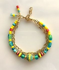 Colorful Glass Beads and Gold Chain Bracelet  Double Strand