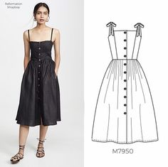 Sew the Look(tm) from @jackiemccallpatterns:  This McCall's #m7950 dress is on 🔥. Sew view C in a rich black linen fabric with side seam pockets from view D. Then add unique metallic buttons from @buttonlovers to pull it all together! ⠀⠀⠀⠀⠀⠀⠀⠀⠀ ⠀⠀⠀⠀⠀⠀⠀⠀⠀ 📷: Inspo dress by Reformation, available at Shopbop.  #mccallspatterns #sewingpattern #dresspattern