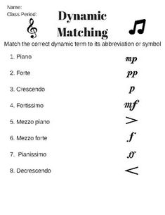 Working with Dynamics by Chrissy Eberle Music Words, Music Do, Piano Music, Sheet Music, Music Lesson Plans, Music Lessons, Guitar Classes, Music Theory Worksheets, Primary Music