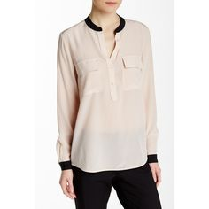 VINCE. Contrast Half Placket Silk Blouse ($100) ❤ liked on Polyvore featuring tops, blouses, silk blouses, long sleeve tops, button front tops, button front blouse and dress shirts