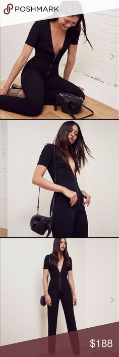 Reformation Farah Black Jumpsuit New with tags! Size 2. Zip it up and roll out.This is a slim fitting jumpsuit with center front zipper and a straight leg opening. - Center front zipper- Fitted bodice- Pockets- Straight leg- V Neck Reformation Pants Jumpsuits & Rompers