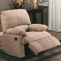 "#American  Dimension: 35""W x 35""D x 40""H Seat Depth: 20 1/2"" Finish: Light #Brown Material: Microfiber  Recliner with Pillow Arms in Light Brown Microfiber Featu..."