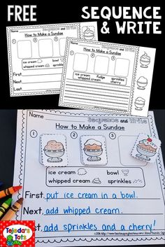 & Write FREEBIE Differentiated pages- students sequence pictures, then write the steps!Differentiated pages- students sequence pictures, then write the steps! Writing Lessons, Writing Resources, Writing Prompts, Writing Ideas, Esl Writing Activities, Writing Sentences, Sentence Writing, Grammar Lessons, Writing Skills
