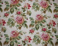 Antebellum by Mill Creek Fabrics Raymond Waite's Collection. Color - Pearl background, hint of Gold with shades of Pink & Green. Perfect for bedding, headboards, table toppers and light residential furniture upholstery.