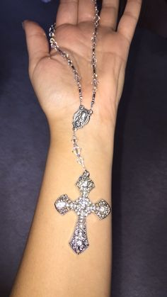 Swarovski Crystal Car Rosary w/ Large Crystal Cross