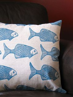 Items similar to Hand Printed Pillow Cover, Fish, Home Decor, Blue (Made to Order) on Etsy Block Printing Designs, Block Painting, Indian Block Print, Linoprint, Printed Cushions, Fish Print, Fish Design, Tampons, Linocut Prints