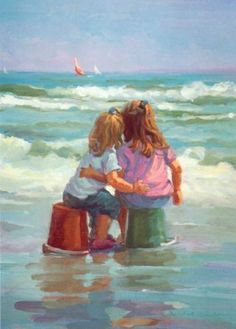 Lucelle Raad paints charming watercolor beach scenes This looks like my girls from the back. Painting & Drawing, Watercolor Paintings, Watercolors, Painting Tips, Art Paintings, Art Plage, Art Gallery, Beach Watercolor, Beach Scenes