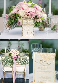 pink and gold reception table ideas @weddingchicks