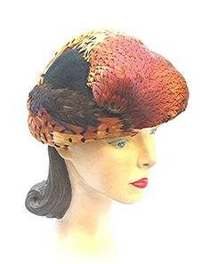 1930s 30s Tilt Hat Du Barry Model Vintage Pheasant Feather So Shiny and Soft.