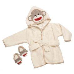 Sock Monkey Bathrobe and Slippers