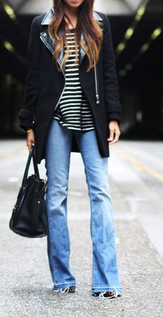 Stripes & boot cut jeans