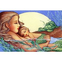 Mother and baby mermaid