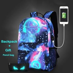 Backpack men and Women Fashion printed comic Demon LIGHT USB Charging capacity Backpack Backpack Laptop Bags informal School Students