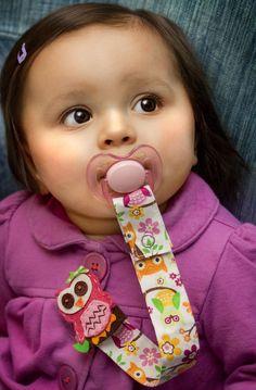 Girl Pacifier Clip, Owl Pacifier Clip, Baby Pacifier Clip. $9.75, via Etsy.