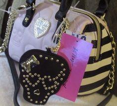 358377452 NEW Tag Betsey Johnson Pink and Black Skull Mini Satchel Small Xbody Bag  Purse