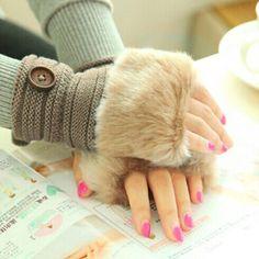 9f11ab0909c    2.05   Free Shipping   Coupons  Winter Warm faux fox Fur fingerless  Gloves Women