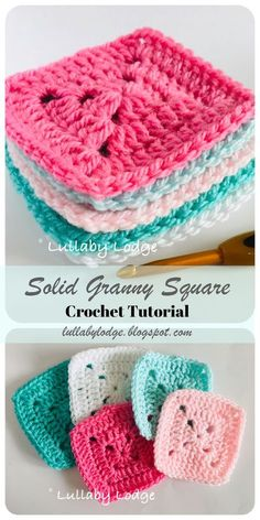 Learn how to crochet solid granny squares and what to make with them, in this free tutorial suitable for beginners. Learn how to make solid crochet granny squares and how to use them in this free, simple tutorial suitable for beginners. Granny Square Pattern Free, Granny Square Häkelanleitung, Granny Square Crochet Pattern, Granny Squares Crochet Blanket, Crochet Granny Square Beginner, Granny Square Tutorial, Granny Square Slippers, Granny Granny, Granny Square Projects