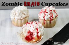 Zombie Brain Cupcakes  - Halloween Party Food {#12DaysOf Halloween}