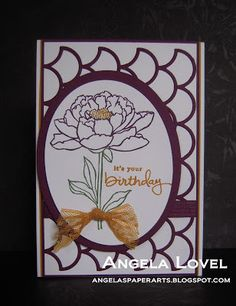 Birthday card featuring the Stampin' Up! You've Got This stamp set, Delightful Dijon Dotted Lace trim and Striped Scallop thinlets die all available from my online store: http://www.angelaspaperarts.stampinup.net/ #angelaspaperarts
