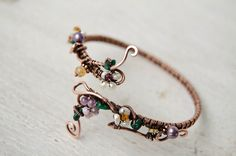 Floral Gemstone Bracelet Blossom twig romantic jewelry with pearls and amethyst