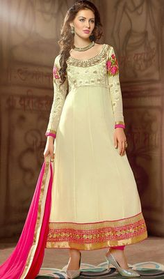 Be your own style diva with this cream embroidered georgette long sleeves long churidar suit. The charming floral patch, lace and resham work a vital attribute of this attire.  #LongLengthAnarkaliDresses