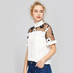 Embroidered Mesh Shoulder Frilled Blouse