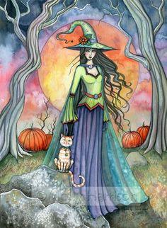 Sorcière chat automne Fine Art Print par Molly par MollyHarrisonArt